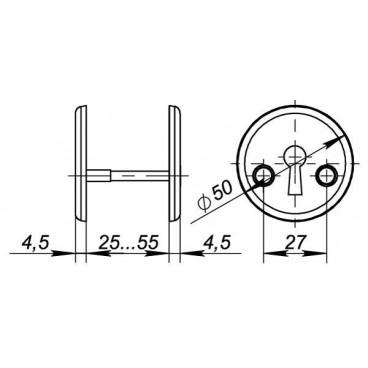 Декоративная накладка Fuaro ESC-S-001-SN на сувальдный замок (матовый никель)