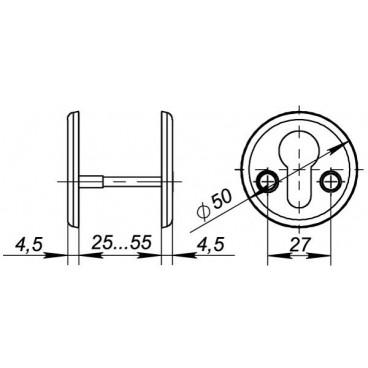 Декоративная накладка Fuaro ESC-С-001-SN цилиндровая (матовый никель)