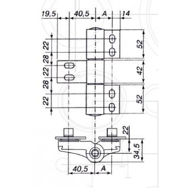 Петля дверная Fural (Фурал) трёхсекционная втулочная эксцентриковая (А или Н)