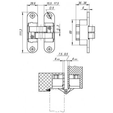 Петля скрытой установки с 3D-регулировкой Architect 3D-ACH 60 SN Матовый никель лев. 60 кг