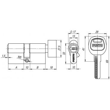 Цилиндровый механизм с вертушкой Punto A202/100 mm (40+10+50) SN мат. никель