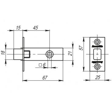 Задвижка врезная Armadillo DB 920-45-25 SN Матовый никель SKIN