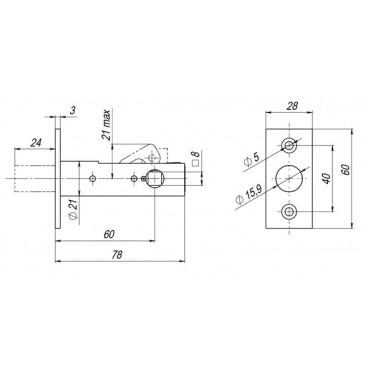Задвижка врезная Fuaro DB 860 CP (хром) 60мм (аналог Страж ЗдВрР)