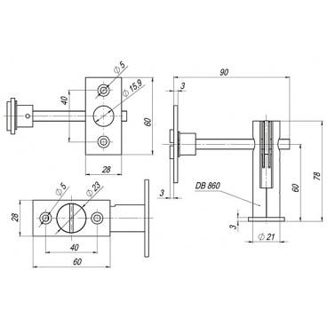 Задвижка торцевая Fuaro TDB 860-24 CP (хром) 60мм