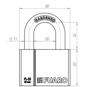 Замок навесной Fuaro PL-2560 (60 мм) 4 фин. кл. БЛИСТЕР