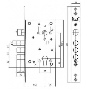 Корпус замка врезного цилиндрового Kale 442 w/b (никель)