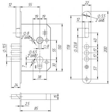 Корпус врезного замка ЗВ4-1 (без цилиндрового мех-ма)