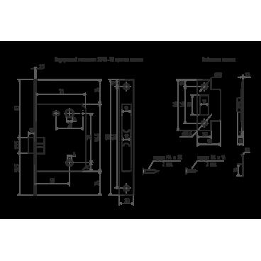 Защелка межкомнатная Нора-М 2070-70 мм АС (ст.медь)