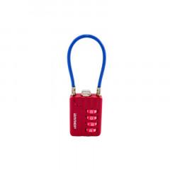 Замок навесной кодовый Аллюр ВС1КТ-30/3 (розовый с тросиком)