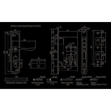 Замок врезной Нора-М 124-55мм (хром)