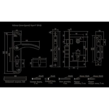 Замок врезной Нора-М 129-62мм (золото)