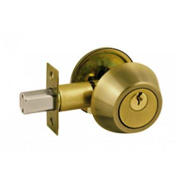 "Замок врезной Deadbolt-101 SS"" ""блистер"" ключ-вертушка, золото (35-50мм)"