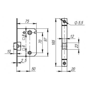Защелка врезная LH 720-50 CP Хром BOX на 70мм /прям/