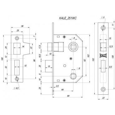 Защелка врезная Kale 251 WC (44 mm) (латунь)