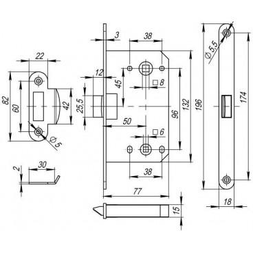 Защелка врезная PLASTIC P96WC-50 GP латунь