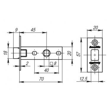 Защелка врезная LH 120-45-25 CP Хром SKIN /прям/