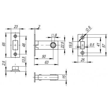 Защелка врезная MAGNET M12-50-25 GP латунь
