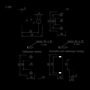 Защелка дверная Нора-М магнитная С-50М (ст.медь)