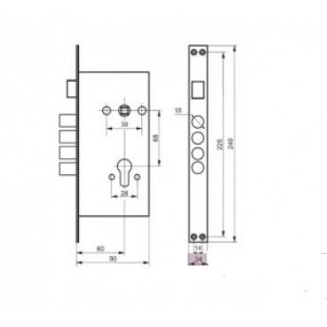 Корпус врезного замка для китайских дверей 635-НТО ЛУЧ 4 ригеля, без задвижки