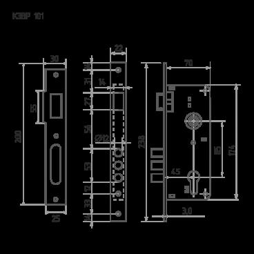 Защелка межкомнатная Нора-М КЗВР-1 (68 мм) хром для кит. мет. дверей