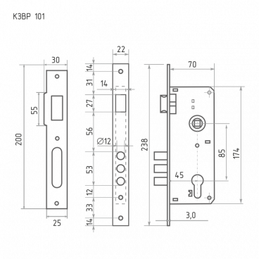 Защелка межкомнатная Нора-М КЗВР-101 (85 мм) (хром)